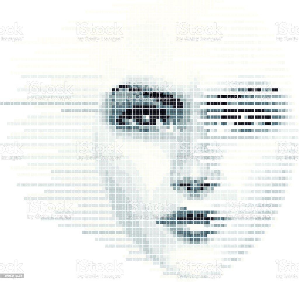 Digital Face vector art illustration