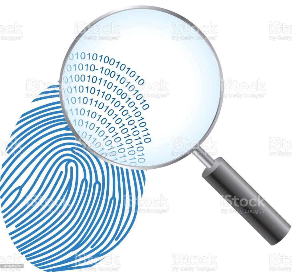 Digital fingerprinting vector art illustration