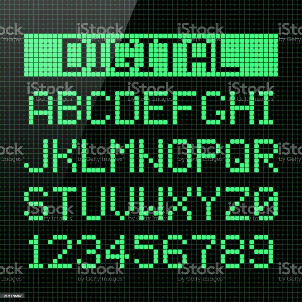 Digital font vector art illustration