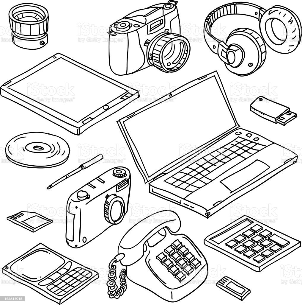 Digital gadget collection in black and white royalty-free stock vector art