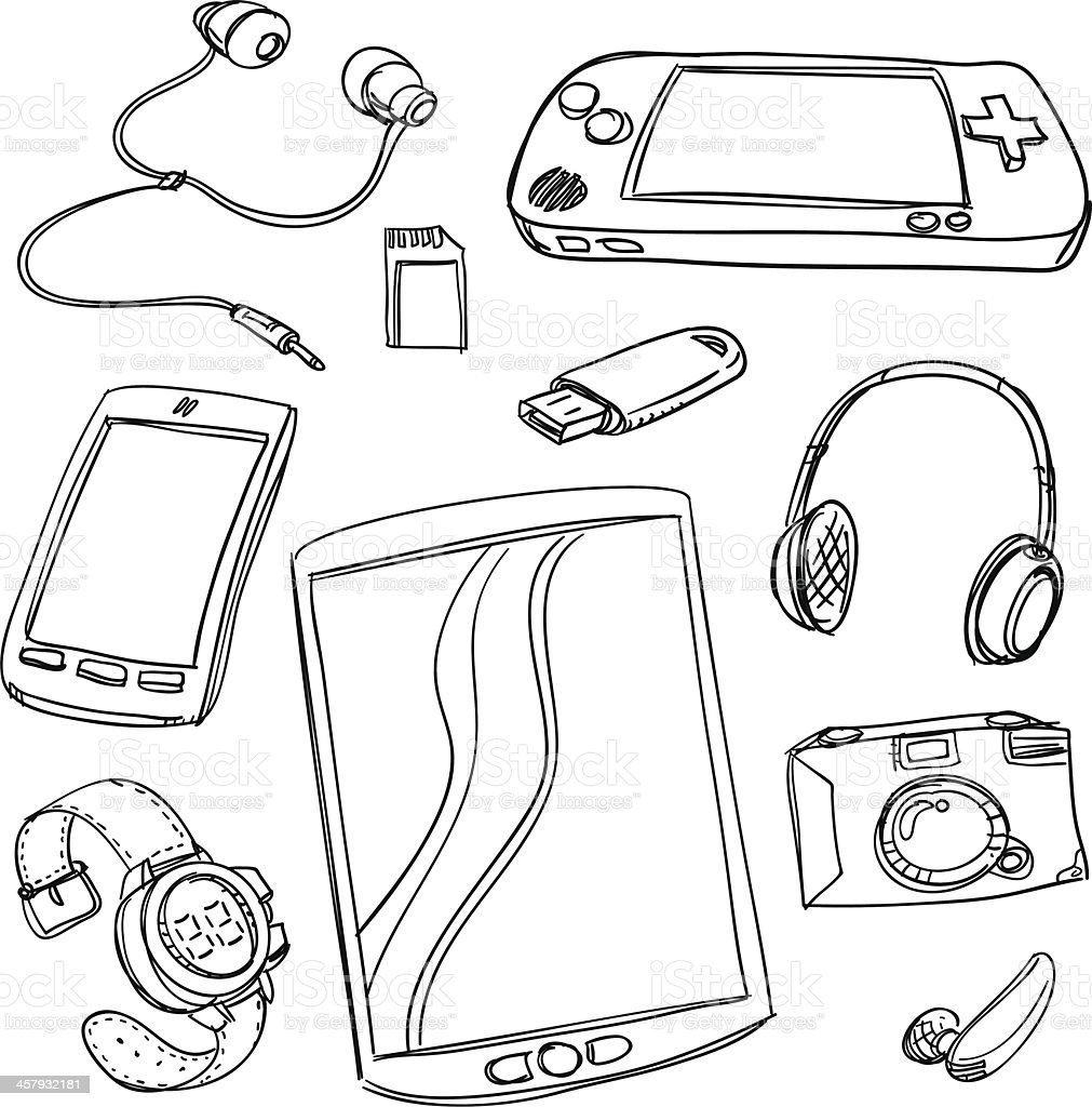 Digital gadget collection royalty-free stock vector art