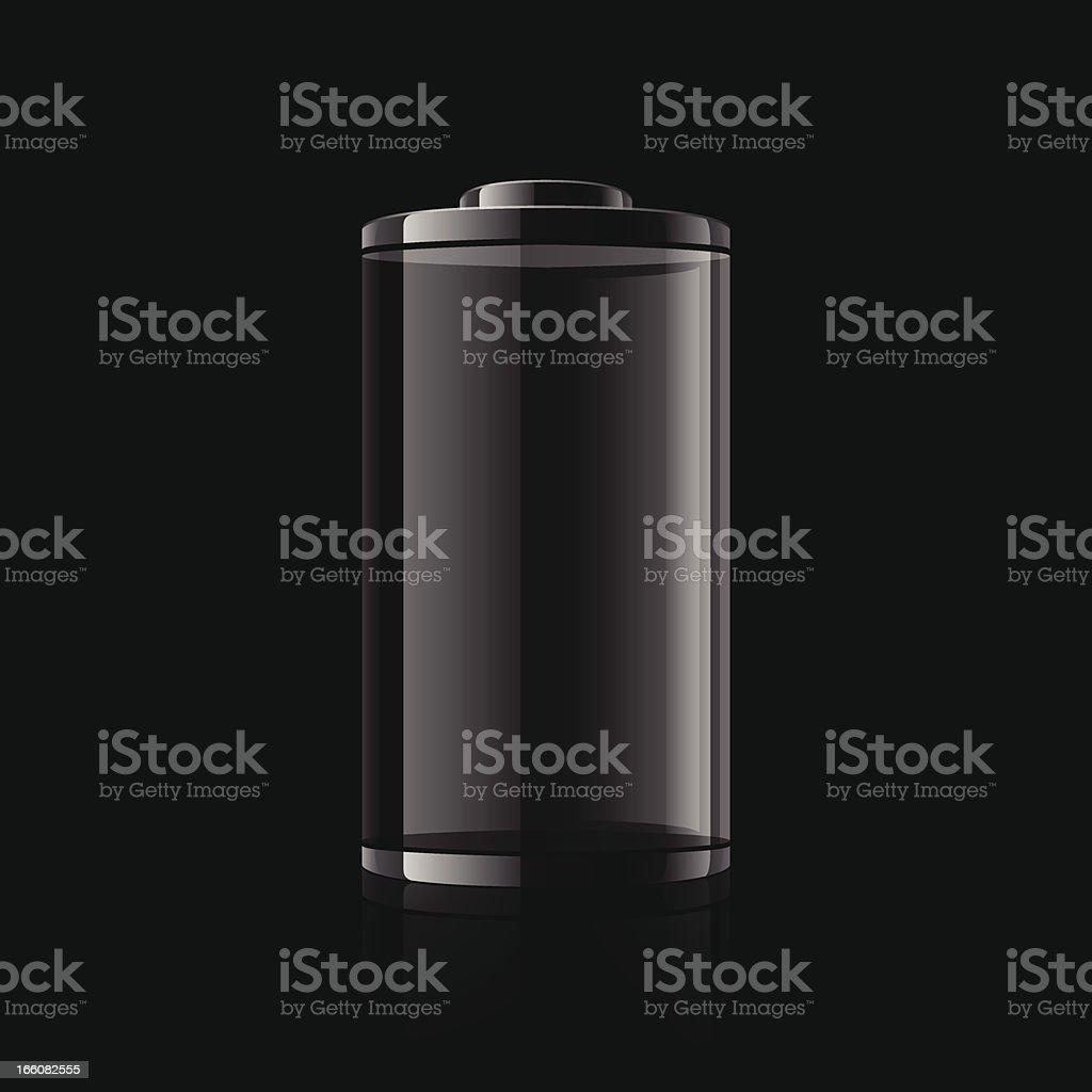 Digital graphic of a black battery on a black background vector art illustration