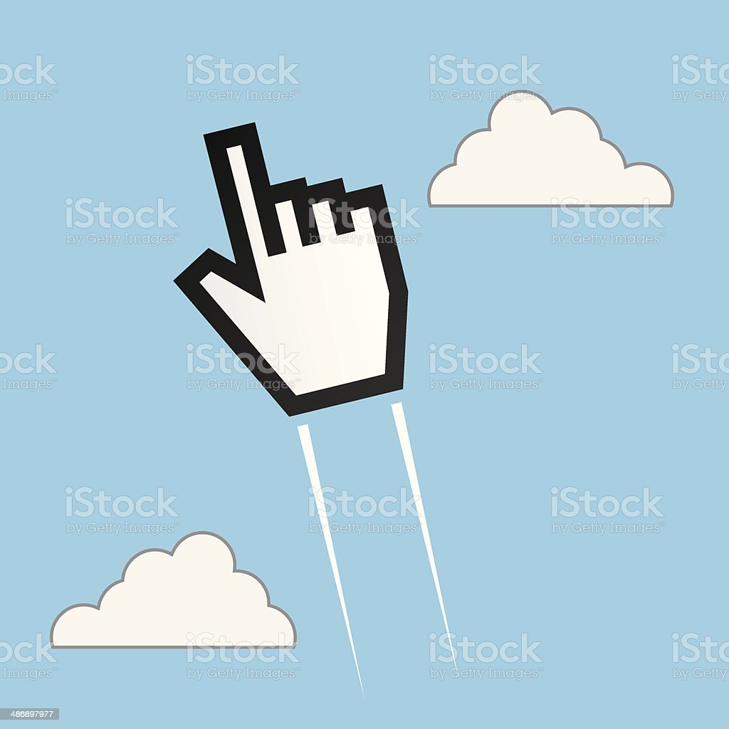 Digital Hand Soaring Through Sky vector art illustration