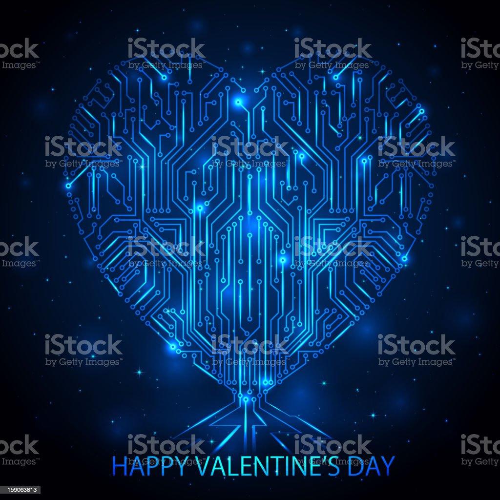 Digital Heart vector art illustration
