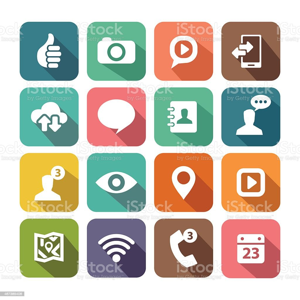 Digital icon set for web and mobile applications vector art illustration