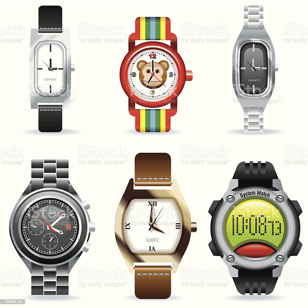 Digital icon set of various watches royalty-free stock vector art