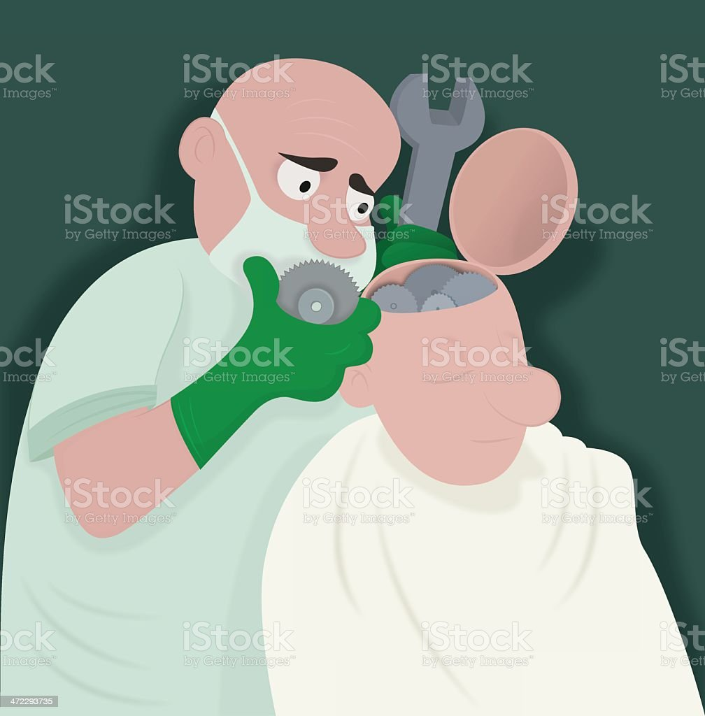 Digital illustration of a brain surgeon operating a man royalty-free stock vector art