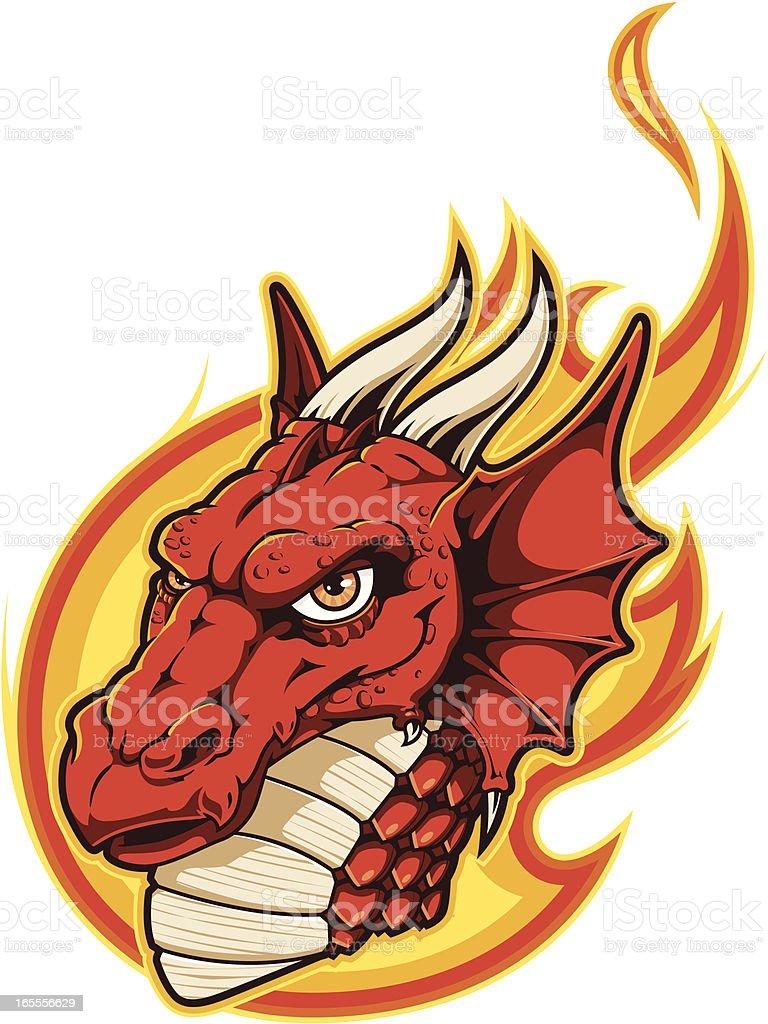 Digital illustration of a cartoon red dragon in flames vector art illustration