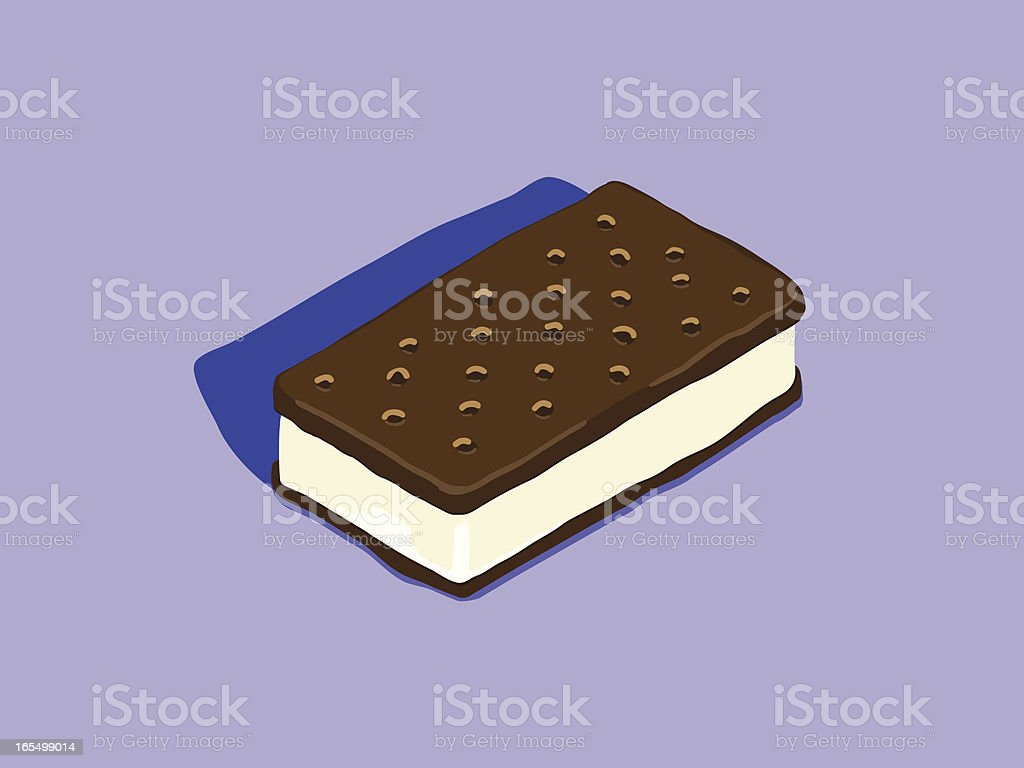 Digital illustration of a chocolate ice cream sandwich  vector art illustration