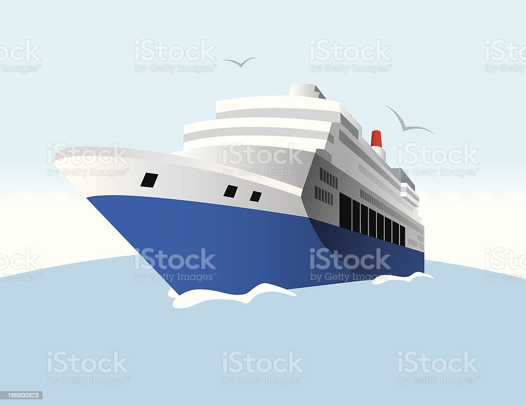 Digital illustration of a cruise ship on water  royalty-free stock vector art