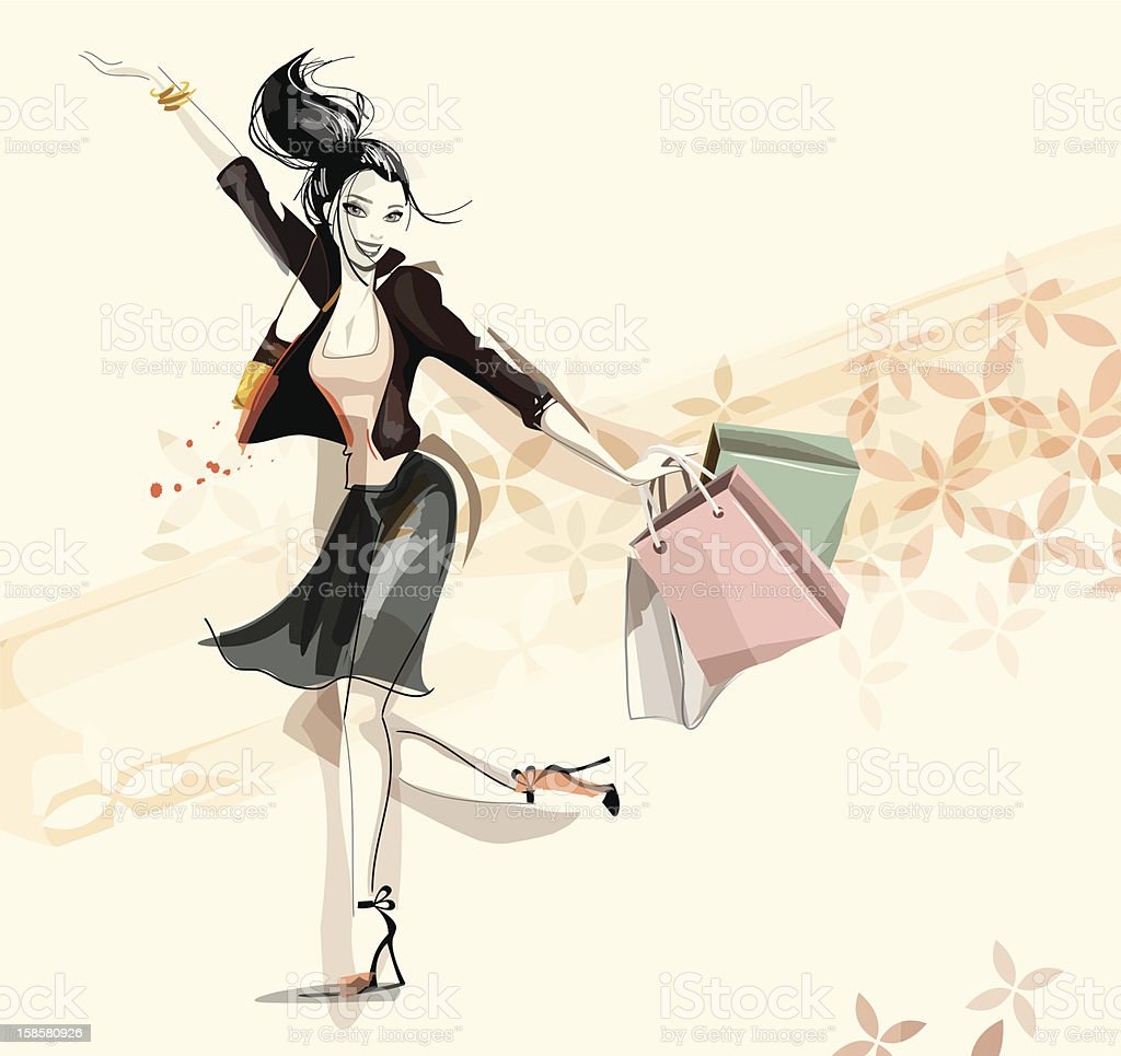 Digital illustration of a happy woman shopping royalty-free stock vector art