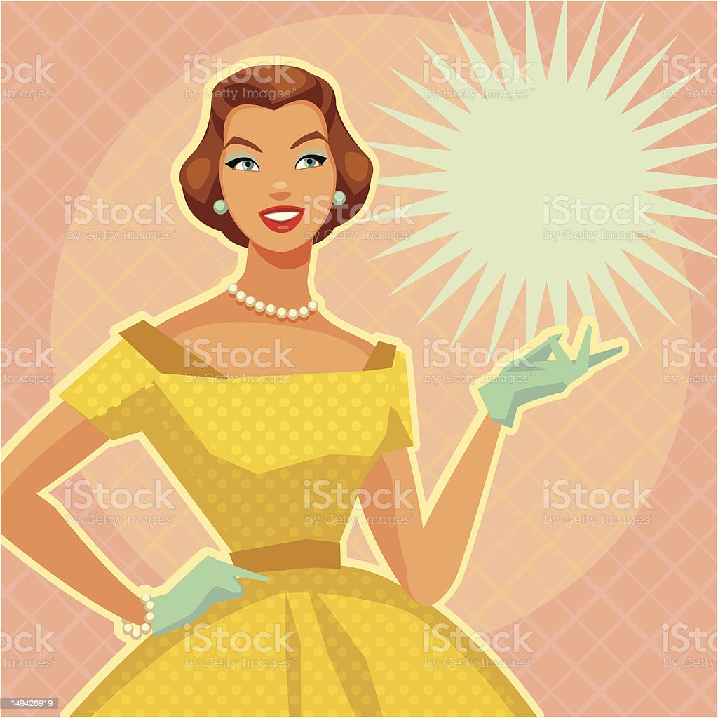 Digital illustration of a lady with vintage yellow dress vector art illustration