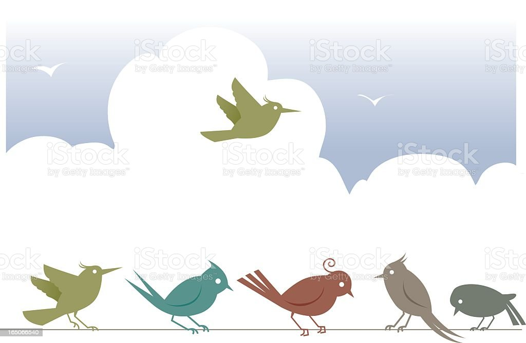 Digital illustration of five birds on a wire and one flying vector art illustration