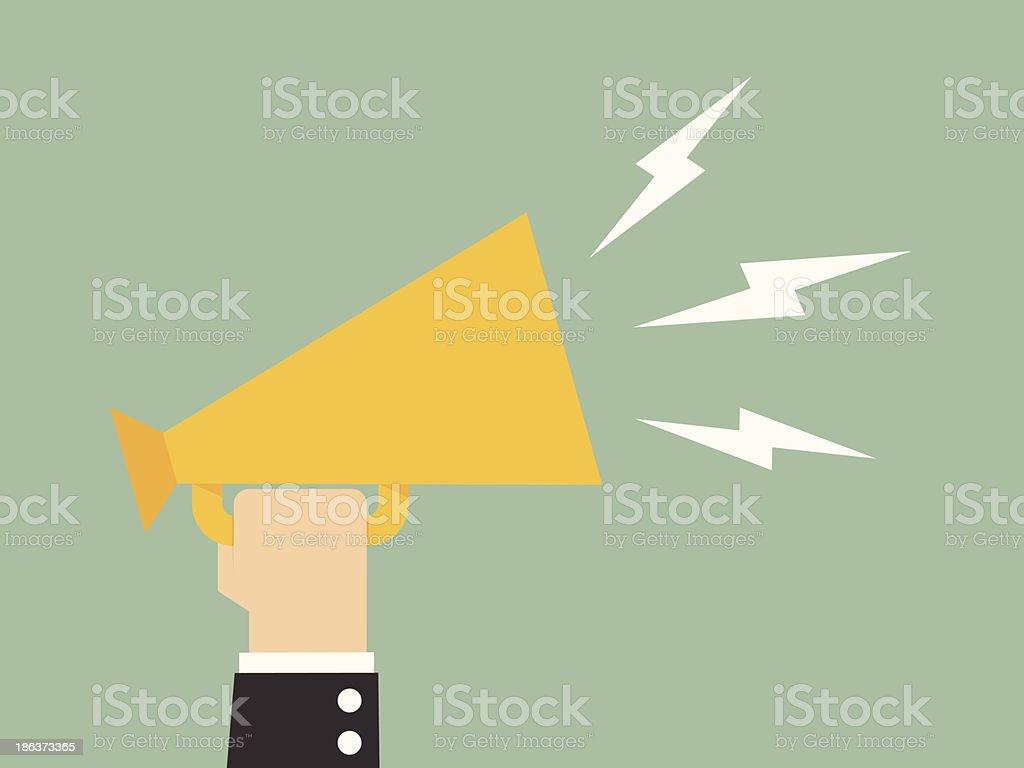 Digital illustration of man holding megaphone vector art illustration