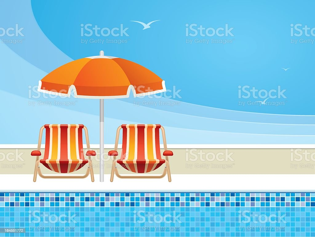 Digital Illustration of pool chairs and an umbrella by pool vector art illustration