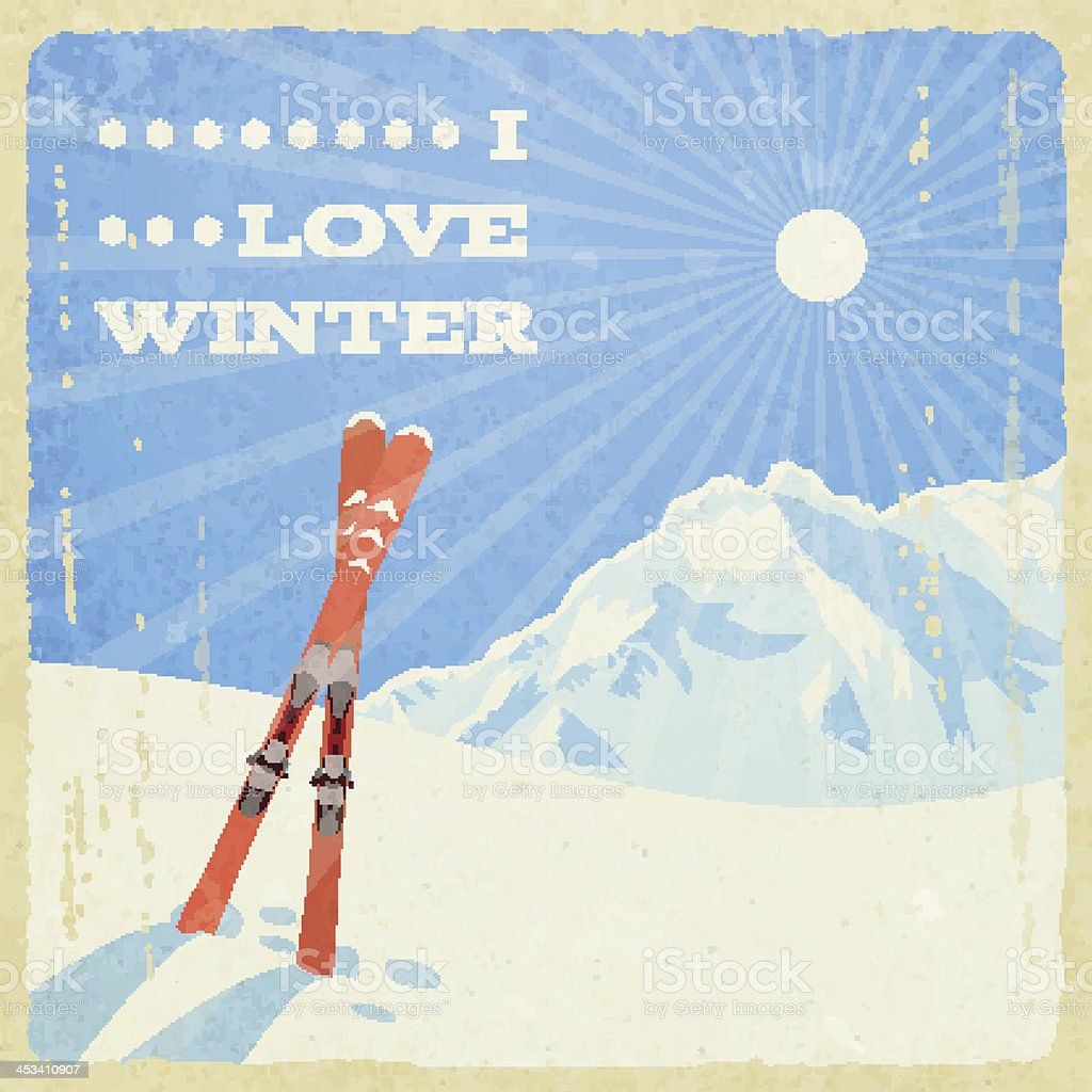 Digital illustration of retro winter landscape with skis  vector art illustration