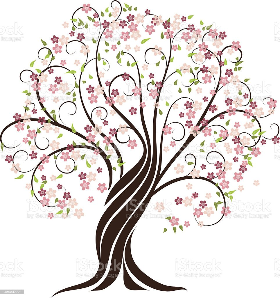 A digital image of a tree blossoming in the springtime  royalty-free stock vector art