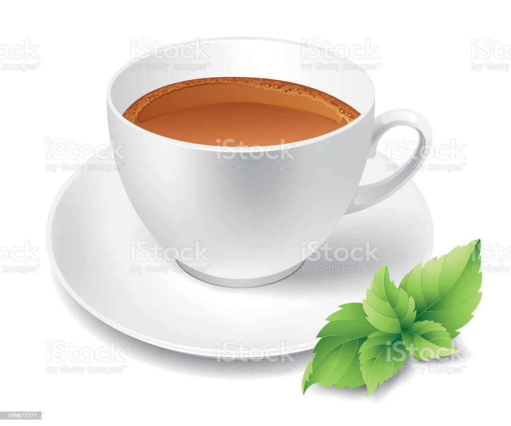 Digital image of a white cup of green tea on a white saucer vector art illustration