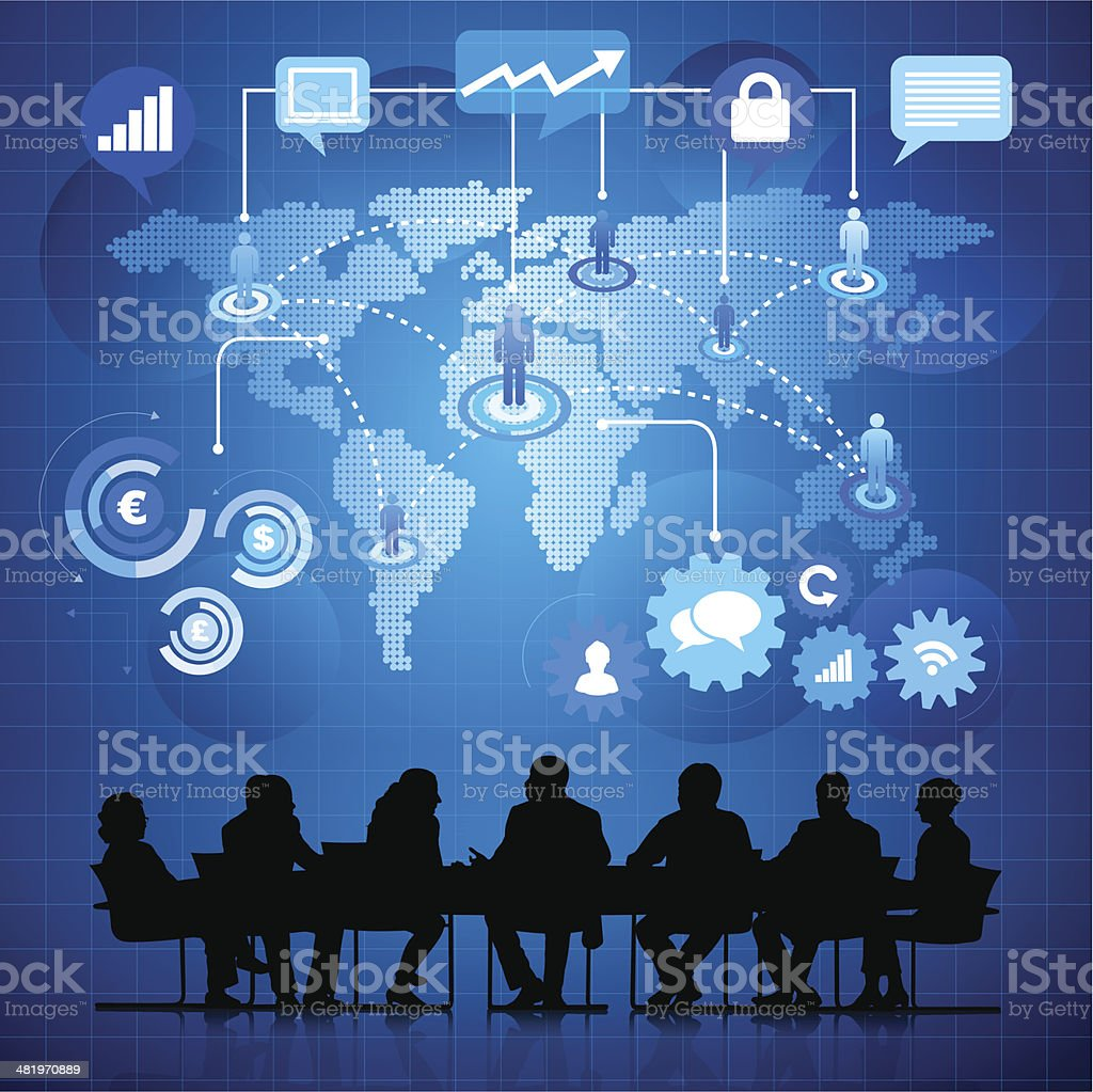 Digital image of business meeting with world map royalty-free stock vector art