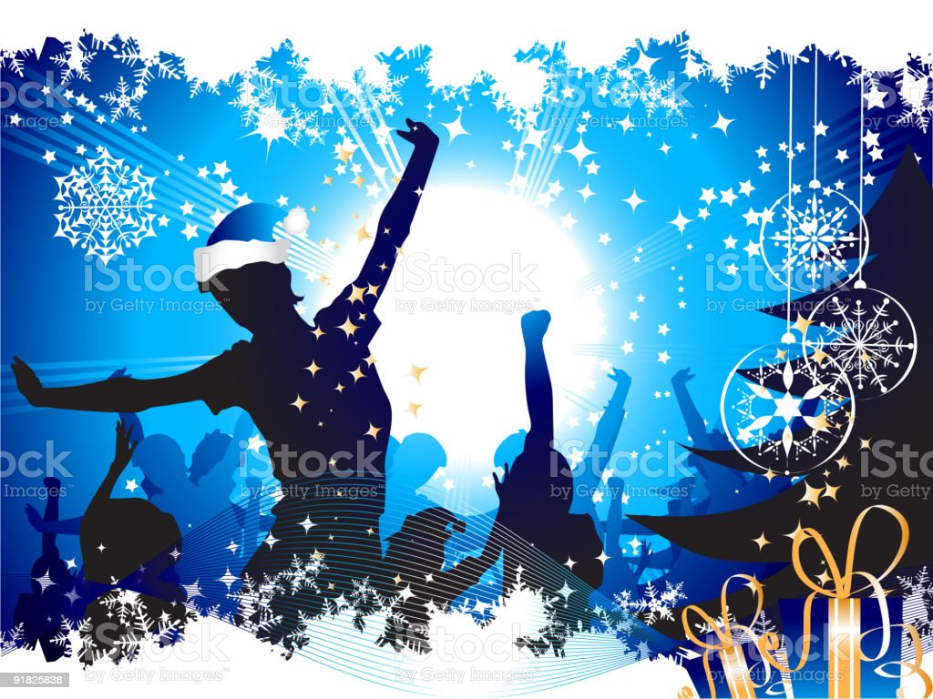 Digital image of people having a Christmas party royalty-free stock vector art