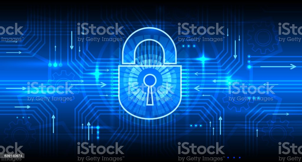 Digital information security concept with lock vector art illustration