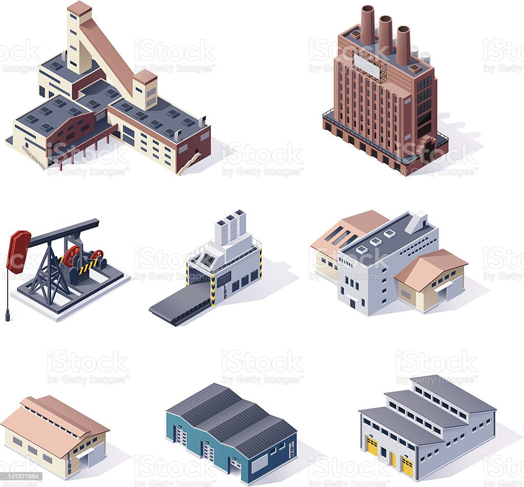 Digital isometric illustrations of factories vector art illustration