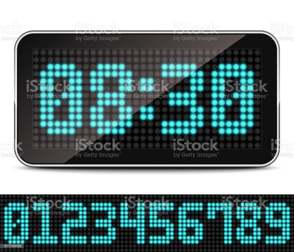 Digital LED Clock, Vector vector art illustration