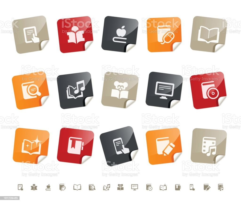 Digital literature icons | sticky series royalty-free stock vector art