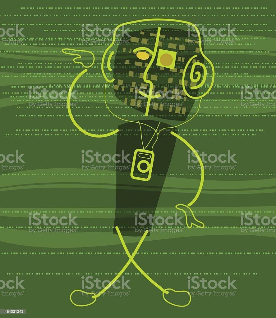 Digital Man Gets Down (Loaded) royalty-free stock vector art