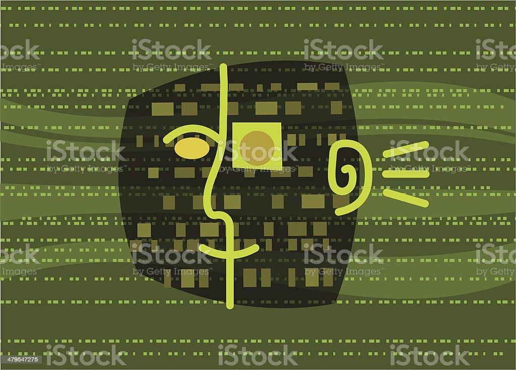 Digital Man in Bit Stream royalty-free stock vector art