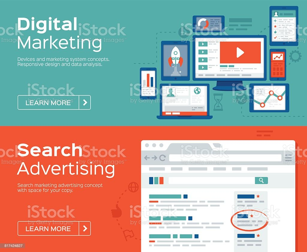 Digital Marketing and Search Advertising Banners vector art illustration