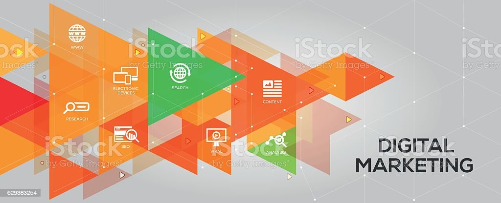 Digital Marketing banner and icons vector art illustration