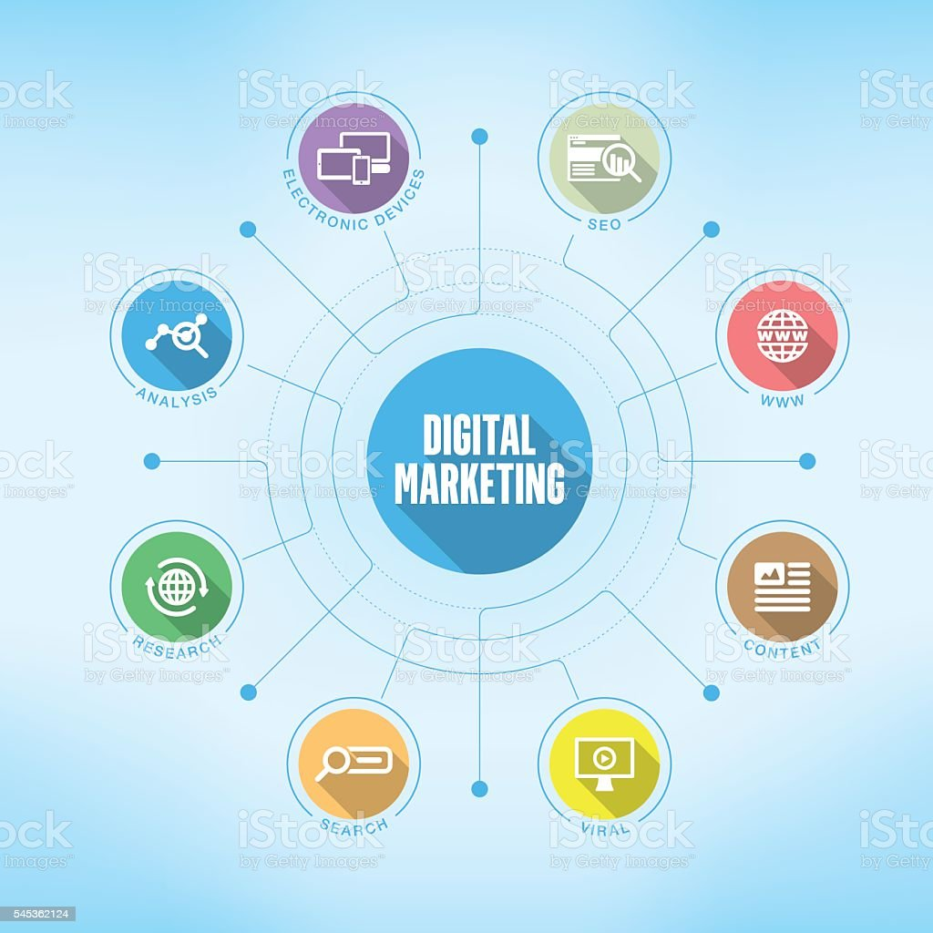 Digital Marketing chart with keywords and icons vector art illustration