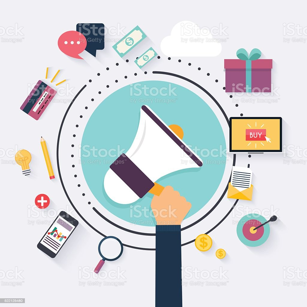 Digital marketing concept. Hand Holding Megaphone. Flat advertis vector art illustration