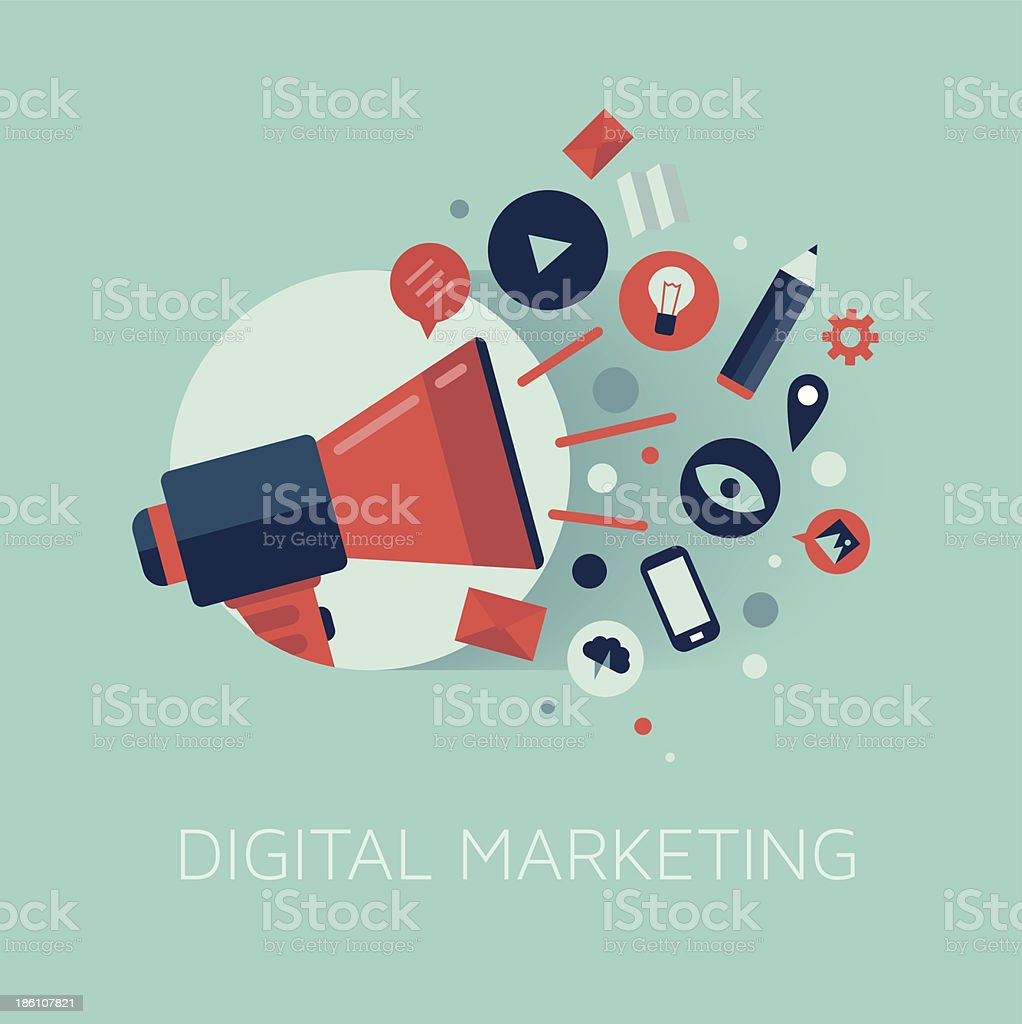 Digital marketing concept illustration royalty-free stock vector art