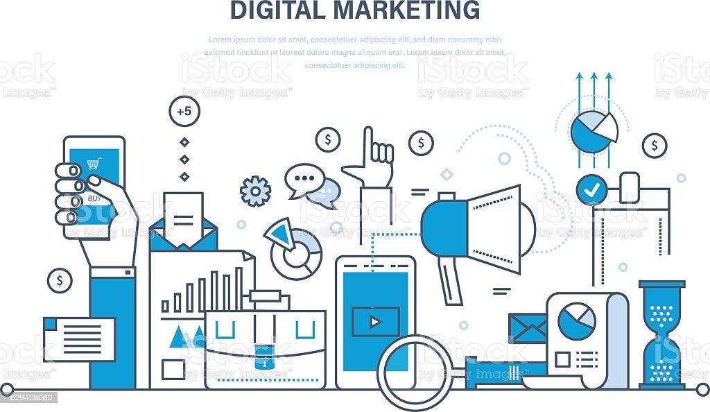Digital marketing, finance, analysis, statistics, technology, media planning and promotion. vector art illustration