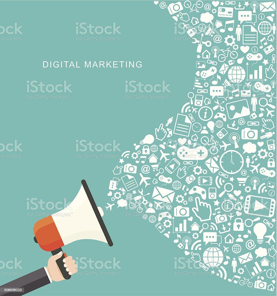 Digital marketing flat illustration. Hand holding megaphone vector art illustration