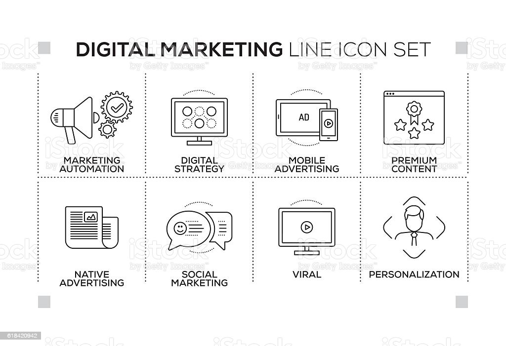 Digital Marketing keywords with monochrome line icons vector art illustration