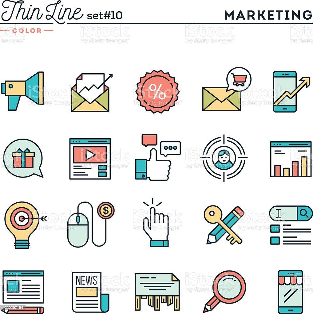 Digital marketing, online business, target audience, pay per click... vector art illustration