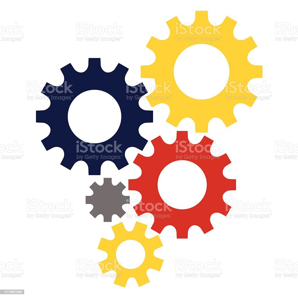 5 digital multi colored gears stock image vector art illustration