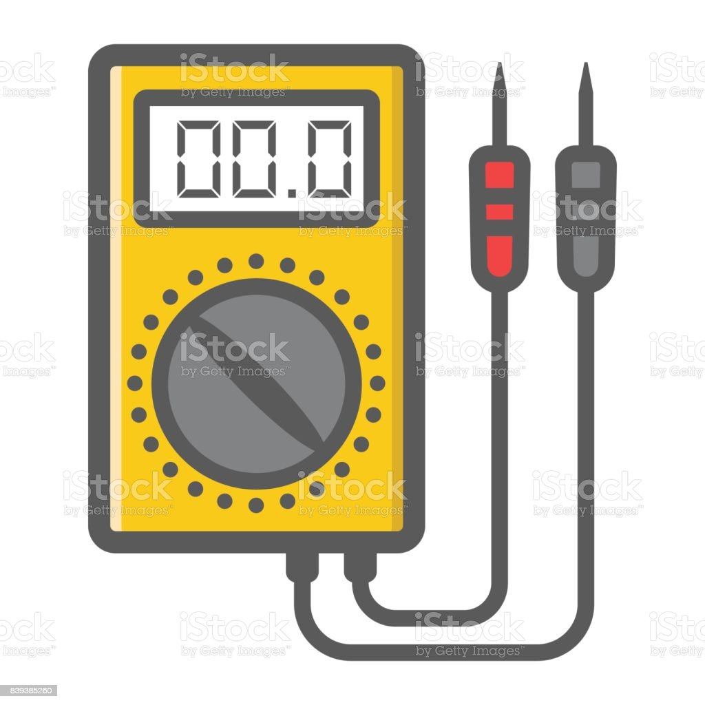 Digital multimeter filled outline icon, build and repair, electric volmeter sign vector graphics, a colorful line pattern on a white background, eps 10. vector art illustration