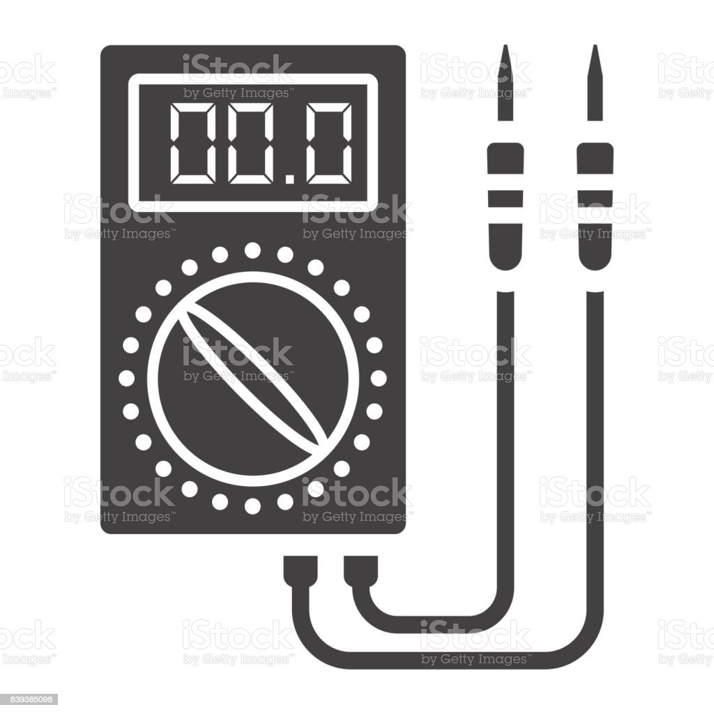 Digital multimeter glyph icon, build and repair, electric volmeter sign vector graphics, a solid pattern on a white background, eps 10. vector art illustration
