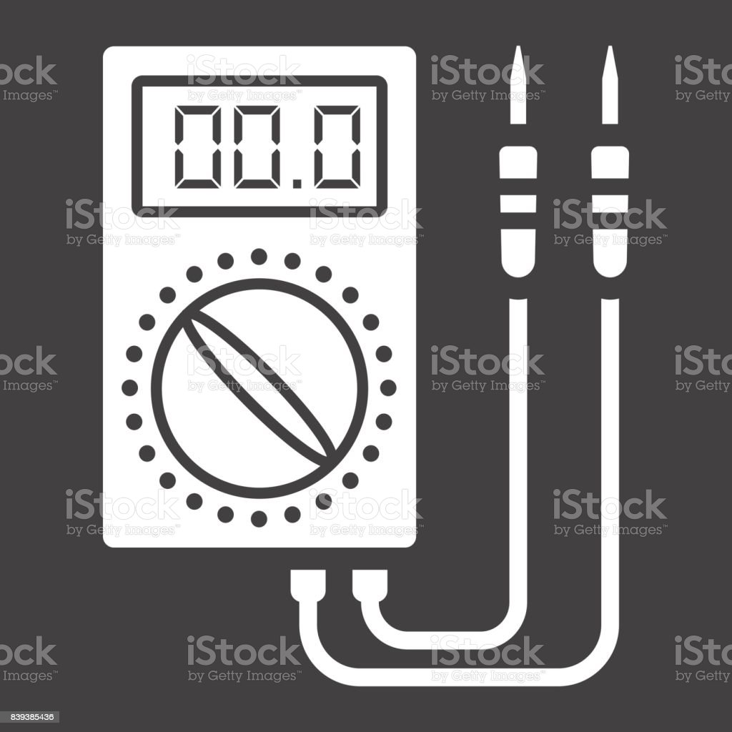 Digital multimeter glyph icon, build and repair, electric volmeter sign vector graphics, a solid pattern on a black background, eps 10. vector art illustration