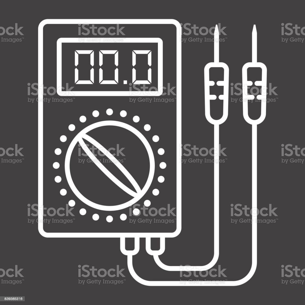 Digital multimeter line icon, build and repair, electric volmeter sign vector graphics, a linear pattern on a black background, eps 10. vector art illustration