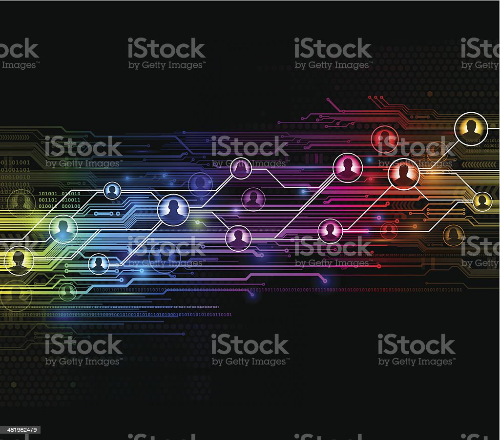 Digital network background vector art illustration
