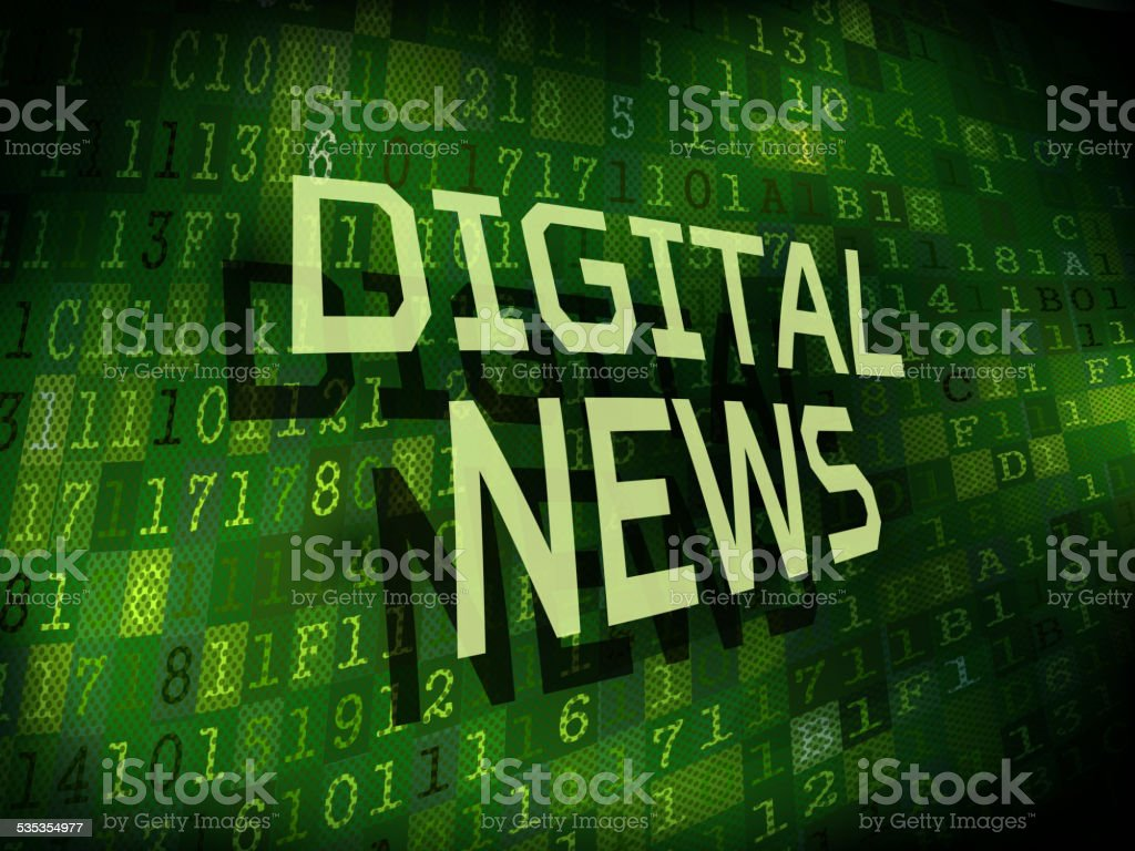 digital news words isolated on digital background vector art illustration