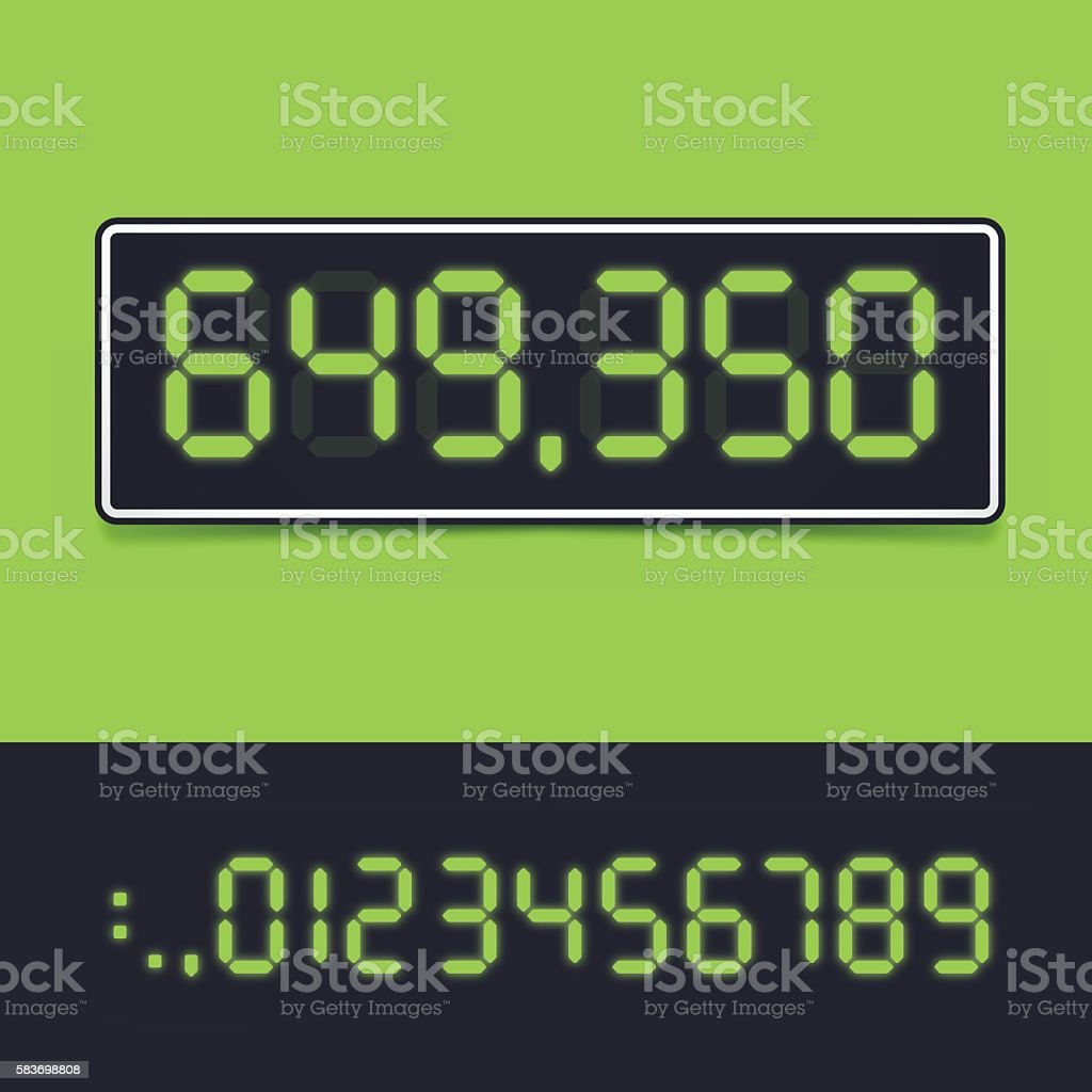 Digital Number Display vector art illustration