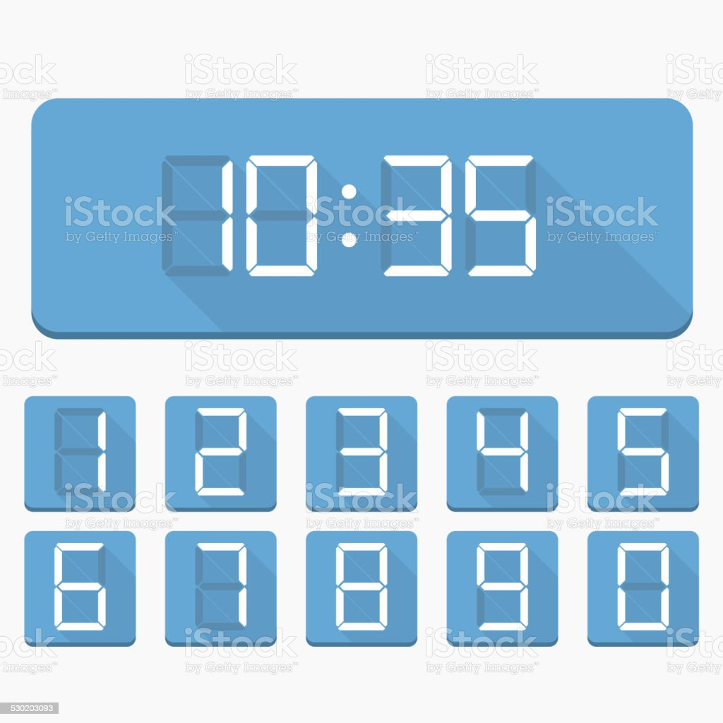 Digital Numbers and Clock vector art illustration