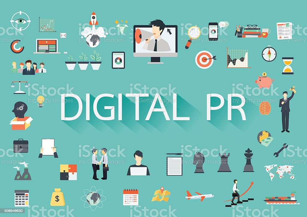 Digital PR with flat icons vector art illustration