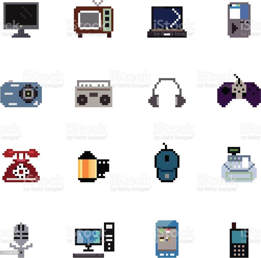 Digital Products Pixel Icons vector art illustration